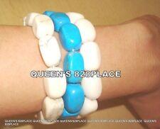 New Lee Sands 3pc Stretch Bracelet Blue and White Howlite Bead Set QVC B498