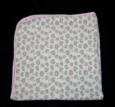 Kidgets Baby Blanket Leopard Print Cheetah Spots Tan Pink Trim Fleece Lovey
