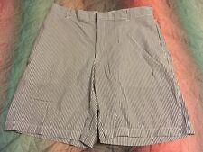 Greg Norman Golf Shorts 36 Men's Stripe Flat Front Cotton Blue