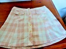 Ladies Pink & White Checked Button Down Skirt Size