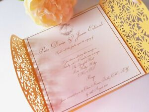 Laser Style Die Cut Wedding Invitation Complete with envelope FREE P+P