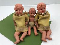 Vintage Celluloid Dolls SY Japan & Rheinische Gummi 16/16 1/2 Little Girl