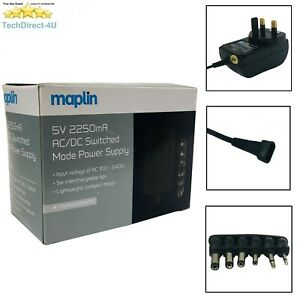 Certified Maplin DC 5V 2250mA Power Supply AC/DC Adapter 6 Connectors RRP £14.99