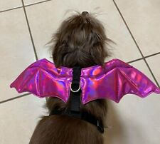 Pink Bat Pet Dog Harness - black with pink wings - Size small - New