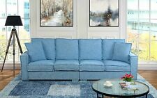 Extra Large Living Room Linen Sofa, 4 Seat Couch for Family Room, Light Blue
