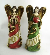"""NEW Pair of Carved Christmas 13"""" Angels - Love & Joy"""
