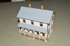 HO scale white two story house wood building structure #1