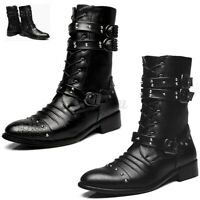 Mens Vintage Mid Calf Pointed Toe Boots Punk Dress Formal Shoes Buckle Leather