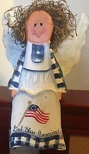 Folk Art Primitive Patriotic Angel Doll wooden shelf sitter Flag (July 4th)