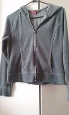 GIRLS JUNIORS GRAY VELOUR HOODIE SZ M BY SO REAL SO RIGHT ZIPPERED, LONG SLEEVE