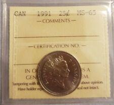 1991 Canada  25 cents ICCS MS65 Gem