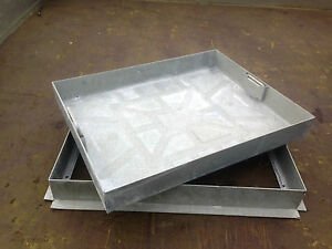 RECESSED MANHOLE COVER 600X450X80MM - All Metal Frame & Tray with Metal handles