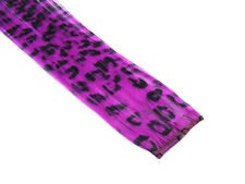 "CLIP-IN 12"" HAIR EXTENSION FUCHSIA LEOPARD EMO SCENE"