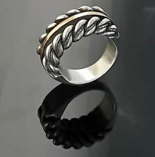 LATVIAN ethnic SILVER and GOLD  Double Namejs RING