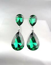 GLITZY Emerald Green Czech Crystals Bridal Queen Pageant Prom Earrings 4320