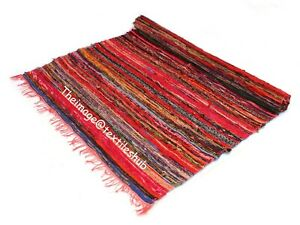 Handmade Chindi Rug Floor Hand-Woven Yoga Mat Area Rugs Mat Carpet Indian 4x6 Ft