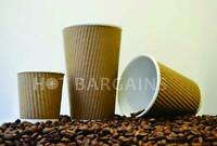 100 X 12oz / 360ml Kraft triple walled disposable coffee cups paper cups NEW