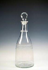 BEAUTIFUL EARLY BLOWN TAPER GLASS LIQUOR DECANTER W/ STOPPER