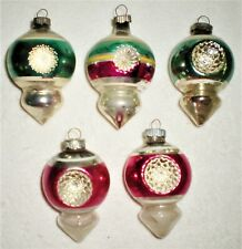 5 Vintage Mercury Glass Shiny Brite Christmas Ornaments All Double Indent Tops