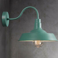 Retro Industrial Gooseneck  Wall Sconce Barn Wall Lamp with Green Light Shade