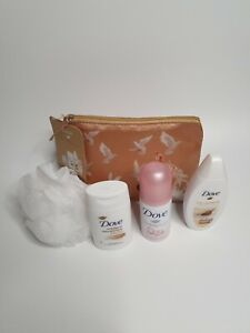 DOVE Mini Pampering Set Travel Bag and Exfoliating Body Scrub Brand New Tags B4