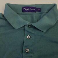 Ralph Lauren Purple Label RLPL Men's Polo Shirt Large Short Length Green Italy