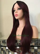 Burgundy Red Wig Straight Ombré Dark Roots 26 Inch Long Heat Resistant Ok
