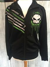 No Fear Zip Up Black Graphic Skull Punisher Jacket Sz Medium