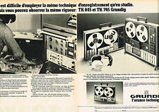 PUBLICITE ADVERTISING 104  1975  GRUNDIG   hi-fi  TK 845 ( 2 pages)