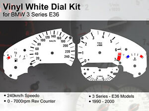 BMW 3 Series E36 (1990 - 2000) - 240kmh / 7000rpm - Vinyl White Dial Kit