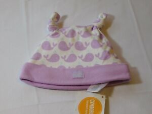 Gymboree Baby Girl's Beanie Hat 0-3 Months 15 GY APR SM 2 Lavender Whales NWT --