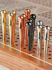 "Metal Cribbage Pegs, 12-Classic 1/8"",  3 ea. Brass,Copper,St.Steel, Black; USA a"