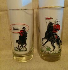 Set of 2 Vintage Antique Canada Canadian Mounties Drinking Glasses