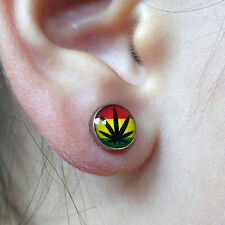 Pair of Rasta Cannabis Leaf Magnetic Clip On Silver Surgical Steel Stud Earrings