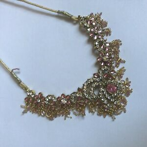 Beautiful Pink Indian Diamante Statement Necklace