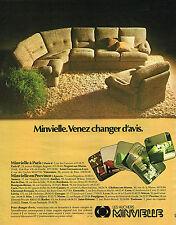 PUBLICITE ADVERTISING 045  1974  LES HUCHERS MINVIELLE  canapé fauteuil salon