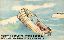 POSTCARD  COMIC   Rowing  Boat   Writing  On  my  Back...