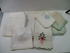 Lot 13 Vintage Linen Textiles Monogramed Embroidered Towels Napkins Tablecloth