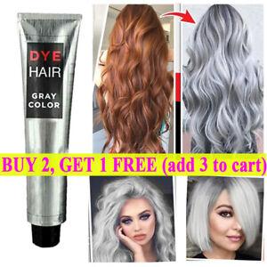 Smoky Gray Punk Style Grey Silver Grandma Gray Hair Dye Color Unisex Cream 95g✔