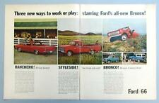 Original 1966 Ford Pickup Ad Ranchero, Styleside & 4 Wheel Drive Bronco Models
