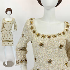 Vintage 60s Beaded Cocktail Dress Sequins Wiggle Mod Bodycon 3/4 Sleeves S 6
