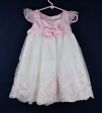 Vintage Shanil USA baby girls dress polyester white pink size 2T