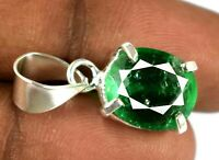 Muzo Emerald Pendant Natural Oval 15.10 Ct 925 Sterling Silver Certified L2073