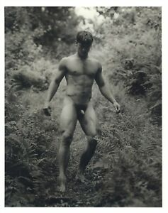 1990 Bruce Weber Nude Male Model Hiking Down A Steep Trail Art Photo Gravure