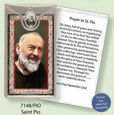 SAINT PADRE PIO PRAYER CARD & COLOUR MEDAL STATUES CANDLES PICTURES ALSO LISTED