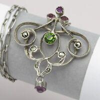 Antique Victorian Edwardian French Silver Pink Paste Lavaliere Pendant Necklace