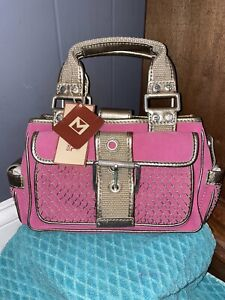 NWT $198 Michael Kors Raspberry PinSilver Clasp Hardware Small Bag Purse