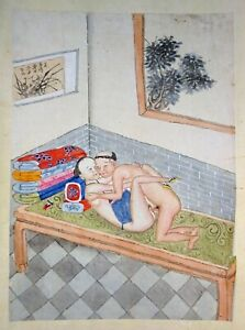 19C Chinese Erotic Pillow Color Paintings for Newly Married Couple (SoM) #12
