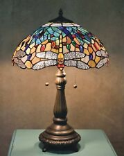 Tiffany Table Lamp Yellow Dragonfly 23 in. Bronze Blue Jewel Stained Glass Shade