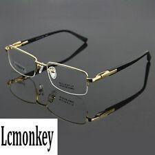 Luxury Pure Titanium Eyeglass Frame Half Rim Spectacles Rx able Glasses